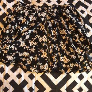 Forever 21+ Floral Zip Up Skirt